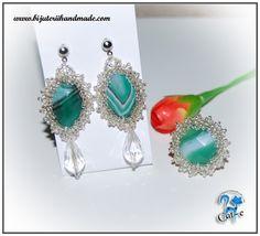 Green Ice set handmade earrings statement by RoyalKittyJewelry Agate Jewelry, Beaded Jewelry, Statement Earrings, Drop Earrings, Green Agate, Beaded Rings, Earrings Handmade, Jewelry Sets, Ice