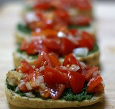 Pesto bruschetta... can you say date night food....  must share this with your man it's so flavorful it kinda gets you excited....