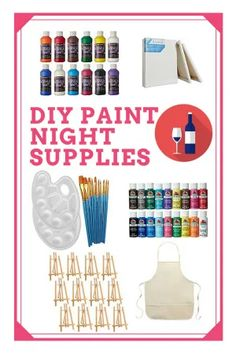 Paint Party At Home - How To Host A DIY Paint Party Paint Party Ideas - How To Host A DIY Paint Night<br> Have an acrylic canvas paint party at home! This guide will give you tips on how to host a paint party and what supplies to get. Wine Painting, Family Painting, Painting For Kids, Painting Lessons, Painting Canvas, Acrylic Paintings, Body Painting, Kunst Party, Wine And Paint Night