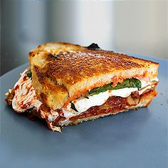 A grilled cheese sandwich version of an eggplant Parmesan, with fried eggplant, tomato sauce, and melty mozzarella.