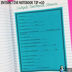 Interactive Science Notebook Tips: Sentence Stems