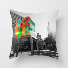 LOVE Park and City Hall - Philadelphia Throw Pillow by Alex Balcer - $20.00