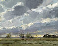 New Blog Post: http://rosepleinair.com/evening-landscape-cows/ Great Evening Sky…