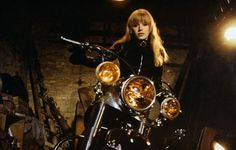 Marianne Faithfull filming La Motocyclette (Girl on a Motorcycle), 1967. (click for more photos - some with her boyfriend Mick Jagger)