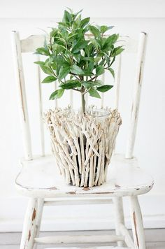 Fresh and Fabulous Farmhouse DIYS and Ideas! - The Cottage Market Diy Crafts For Home Decor, Craft Stick Crafts, Spray Painted Baskets, Rama Seca, Twig Art, Thistlewood Farms, Unique Centerpieces, Small Wood Projects, Branch Decor