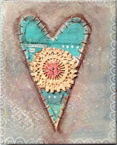 Universal Love, Original Mixed Media Collage Valentine Heart on Canvas via Etsy