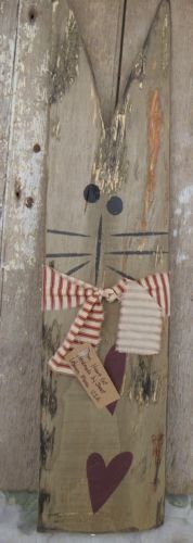 LARGE PRIMITIVE COUNTRY CAT Hand Painted Reclaimed Wood Rustic Folk Art Hearts
