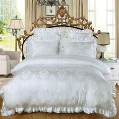 Luxury Jacquard Silk Cotton King Queen Size Bedding Set Duvet cover Cotton Bedspread  Cusion Pillow covers  4/6 Pcs Bed set