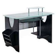 Techni Mobili Stylish Frosted Glass Top Computer Desk with Storage