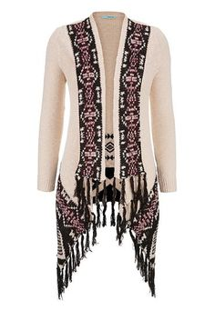 blanket cardigan with fringe in ethnic pattern (original price, $44) available at #Maurices