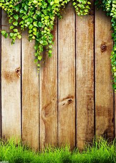 5'X7' weathered distressed brown wood Backdrop - old vintage planks with grass - Printed Fabric Photography Background w0625