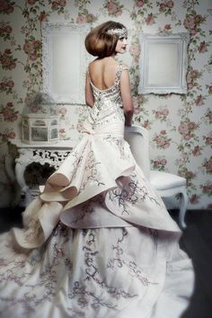 fit and flare ball gown with embroidery embellished train