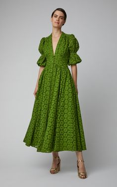 Cult Gaia Willow Cotton Lace Maxi Dress Click product to zoom Casual Dresses, Fashion Dresses, Summer Dresses, Dresses Dresses, Green Dress Casual, 1950s Dresses, Dresses Online, Vintage Dresses, Boho Dress