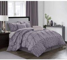 House of Hampton Revilla Comforter Set Size: California King Comforter + 6 Additional Pieces, Colour: Purple Grey Comforter Sets, Bedding Sets, Elegant Comforter Sets, Ruffle Bedding, Bed Sets, Home Decor Bedroom, Bedroom Ideas, Bedroom Art, Comforters