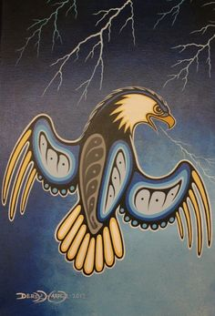 Eagle and Lightening - *Kitigan Native American Print, Native American Artwork, Native American Crafts, Native American Artists, Tribal Wolf Tattoo, Tribal Art, Wolf Tattoos, Native Symbols, Native Art