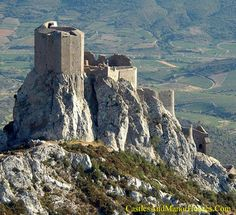 Quéribus, Cucugnan, Aude, Languedoc, France.... http://www.catharcastles.info/queribus.php?key=queribus ... Quéribus is sometimes regarded as the last Cathar stronghold. After the fall of the Château of Montségur in 1244 surviving Cathars gathered here. The Cathar deacon of the Razès, Benoît de Termes, took refuge here under Chabert de Barbaira, who was finally forced to surrender to Saint-Louis in 1255. It was the last stronghold to fall, eleven years after the fall of Montségur,