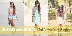 B&W Stripped blazer Striped Jacket, Kimono Top, Shirt Dress, Black And White, Coat, How To Wear, Jackets, Shirts, Blazers