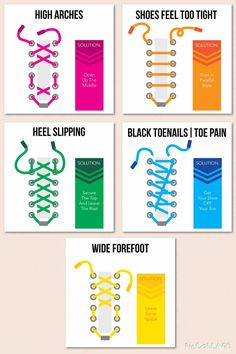 Shoe lacing patterns to help with foot pain. This has been a tremendous help! - Imgur