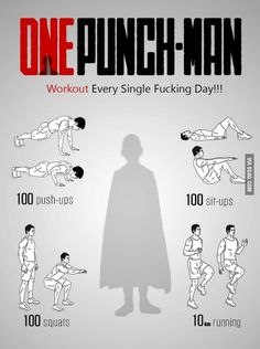 One-Punch Man workout! One-Punch Man Know Your Meme Fitness Workouts, Fitness Hacks, Gym Workout Tips, Ab Workout At Home, Workout Challenge, Workout Plans, Workout Men, Workout Routines, Circuit Fitness