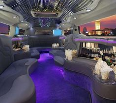 The inside of the awesome limo I would cruise around in