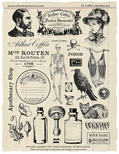 Dr. Coffin's Apothecary rubber stamp collection by Oxford Impressions.