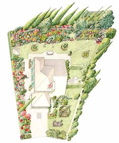 The Christensens made the most of their wedge-shaped quarter-acre lot with pocket gardens and seating areas placed throughout. The steep slope in back puts the whole hillside landscape on display when viewed from the flat lawn below. Landscaping Supplies, Landscaping Plants, Landscaping Ideas, Landscaping Software, Pocket Garden, Hillside Landscaping, Garden Illustration, Sloped Garden, Landscape Plans
