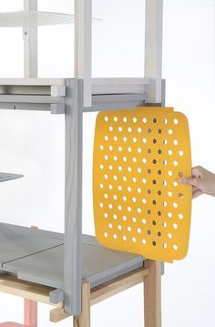 Bangkok designers THINKK Studio have created a shelving system made from wooden batons with perforated surfaces that slot in to hide clutter. Studio Furniture, Modular Furniture, White Furniture, Furniture Plans, Cool Furniture, Furniture Design, Urban Furniture, Furniture Stores, Office Furniture