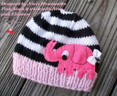 Girls Knit  Baby Hat with Elephant design,  Beanie, Newborn photography,  Baby Shower,  girls hat, gift, hospital outfit on Etsy, $22.00