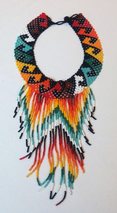 Kueba Black  Handmade Indigenous Rainbow Beaded Necklace Necklace Lengths, Necklace Set, Beaded Necklace, 3d Art Drawing, Beadwork Designs, Beading Patterns, Handmade Jewelry, Rainbow, Beads