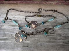Necklace and bracelet with Vintaj natural brass and ceramic beads