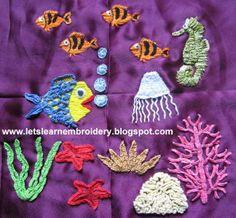 Let's learn embroidery: Free pattern 1 - Underwater scene