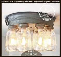 Our rustic mason jar ceiling light features EIGHT mason jar lights, arranged on a galvanized metal mounting plate for style in any direction Diy Mason Jar Lights, Mason Jar Light Fixture, Rustic Mason Jars, Ball Mason Jars, Mason Jar Lighting, Ceiling Light Fixtures, Mason Jar Crafts, Mason Jar Diy, Mason Jar Lamp