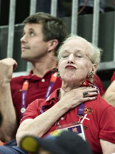 I know the Swedish monarchs made it to tmz, but our Queen Margrethe was cheering too! But obviously we weren't winning, so her faces were.. well, different.    She's awesome that way