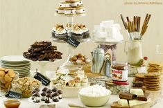 Smore Buffet, YUMMY  http://athome.kimvallee.com/2011/02/inspirations-to-make-your-own-smores-station/