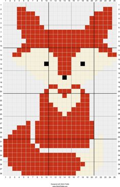 Terrific Totally Free Cross Stitch fox Popular Ideas crochet animals fox cross stitch for 2019 Tiny Cross Stitch, Cross Stitch Animals, Cross Stitch Charts, Cross Stitch Designs, Simple Cross Stitch, Cross Stitch Patterns Free Easy, Crochet Wall Hangings, Tapestry Crochet, Crochet Pixel