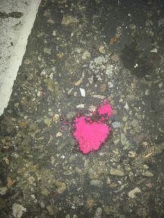 Heart paint spill Lowe's parking lot, San Buenaventura,  CA