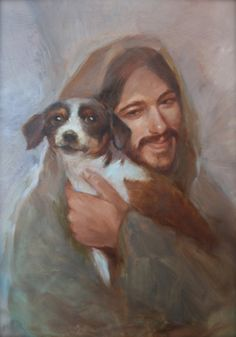 Safe in His Everlasting Arms. Jesus with small dog.