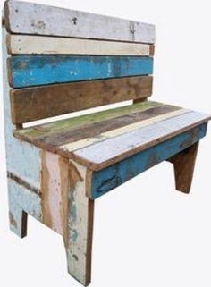 Banco de madera multicolor por ModernElementsHome en Etsy