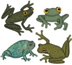 "24 frogs.  If you love frogs, this is for you! Twenty-four different frog and toad patterns are included plus 12 different small patterns including snails, beetles, a dragonfly, and a tadpole. This pattern also includes instructions for a 65"" x 75"" quilt complete with materials list.  Project Type: Quilt Type: Applique"