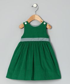 My girls had so many matching Monday's Child dresses when they were little.  Take a look at this Kelly Green Corduroy Personalized Jumper - Infant & Toddler by Monday's Child on #zulily today!