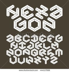 Hexagon alphabet made of impossible shapes. Un-expanded strokes.