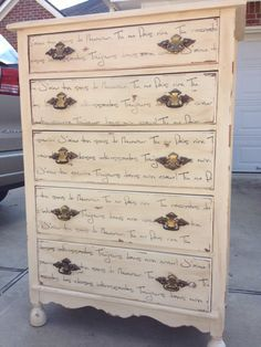 Dresser / chest of drawers stenciled with Old Script Stencil 1 French phrases by WallMasqueStencilCo