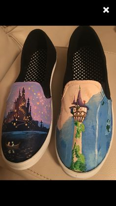 Made to order Rapunzel canvas hand painted shoes inspired by Disney's Tangled women's girls or teens! Disney Painted Shoes, Painted Canvas Shoes, Custom Painted Shoes, Hand Painted Shoes, Disney Princess Shoes, Disney Shoes, Disney Outfits, Disney Clothes, Custom Vans Shoes