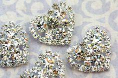 6 pieces STUNNING 23mm Sparkling Rhinestone Heart Shape Buttons Embellishment Wedding accessories, bridal brooch by Hennytj on Etsy https://www.etsy.com/listing/85157938/6-pieces-stunning-23mm-sparkling