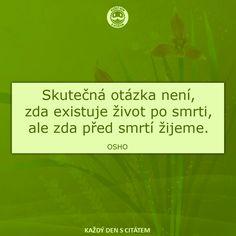 Skutečná otázka není, zda existuje život po smrti, ale zda před smrtí žijeme.  Osho citáty Body And Soul, Osho, Favorite Quotes, Quotations, Wisdom, Humor, My Love, Words, Funny