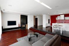 Rodinný dům v Děhylově Oversized Mirror, Conference Room, Table, Furniture, Home Decor, Decoration Home, Room Decor, Tables, Home Furnishings