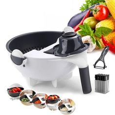 9-in-1 Multi-Functional Mandoline Vegetable Slicer How To Wash Vegetables, Kinds Of Vegetables, Potato Slicer, Mandolin Slicer, Vegetable Slicer, Vegetable Chopper, Sliced Potatoes, Mashed Potatoes, Omelettes