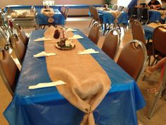 Burlap Table Runner for Eagle Scout Court of Honor