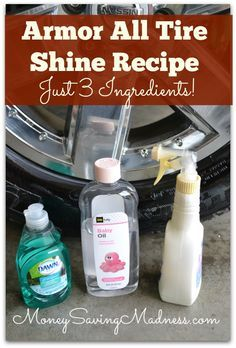 Ladies and gentlemen…Shine your tires and car interior for less! I have a simple tip and recipe that will give your car some serious sparkle for mere pennies! Introducing Homemade Armor All! Make it at home for a QUARTER versus the $3.99, $4.99, or $5.99 you'd pay for a bottle of Armor All in stores. …