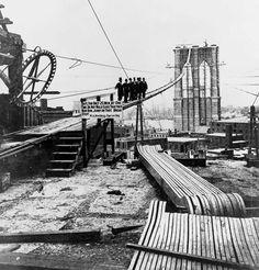 Brooklyn Bridge construction, 1877